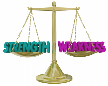 Strength Vs Weakness Scale Weighing Pros Cons 3d Illustration