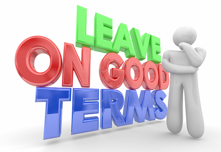 Leave On Good Terms Thinker Thought Cloud Words 3d Illustration