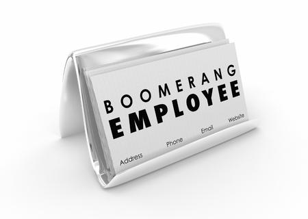 Boomerang Employee Returning Worker Business Card 3d Illustration
