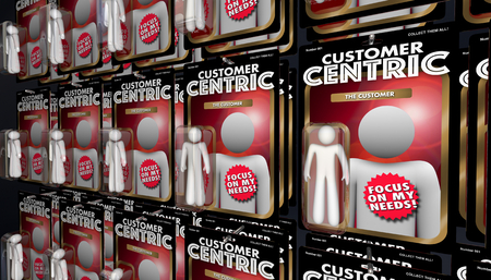 Customer Centric Action Figures Service Attention 3d Illustration