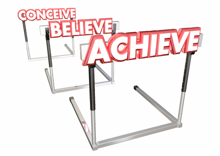 Conceive Believe Achieve Jumping Hurdles Challenges 3d Illustration