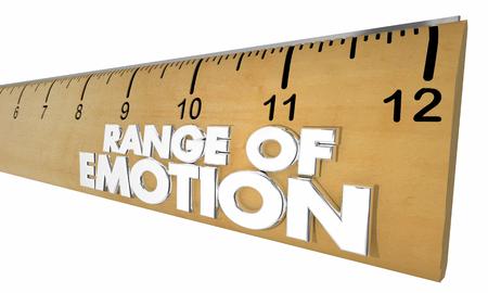 Range of Emotion Ruler Measure Feelings 3d Illustration Фото со стока