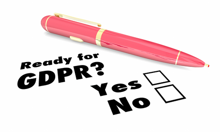Ready for GDPR Pen Checkboxes New Privacy Rules 3d Illustration Stok Fotoğraf