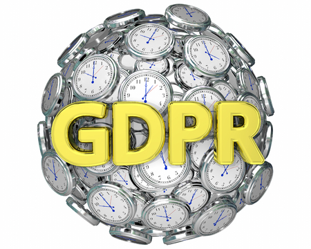 GDPR Time Clocks Deadline Countdown Privacy Rules 3d Illustration