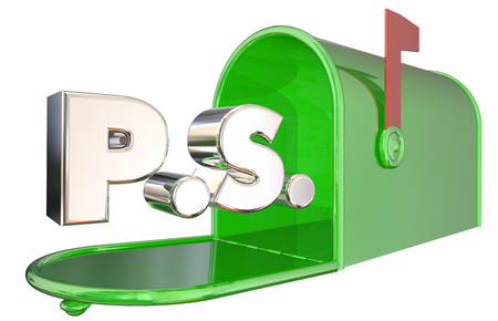 PS Postscript Message Mailbox Final Word 3d Illustration Stock Photo