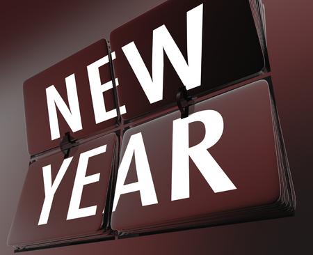 New Year Flipping Clock Tiles Fresh Start Time 3d Illustration Stock Photo