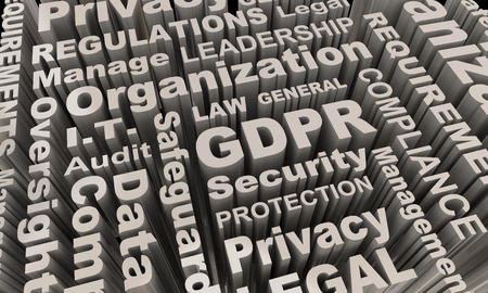 GDPR Word Collage Background Data Security Protection 3d Illustration Stock Photo