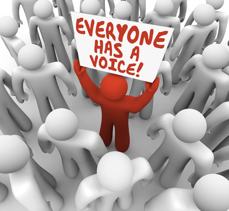 Everyone Has a Voice Man Holding Sign in Crowd 3d Illustration Stockfoto
