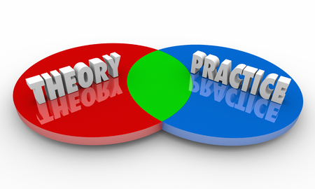 Theory Vs Practice Venn Diagram 3d Illustration