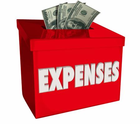 Expenses Money Box Collection Paying Bills 3d Illustration Reklamní fotografie