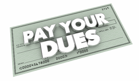 Pay Your Dues Money Check Payment 3d Illustration