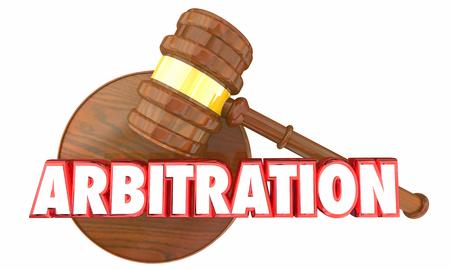 Arbitration Judge Gavel Court Legal Settlement 3d Illustration Foto de archivo