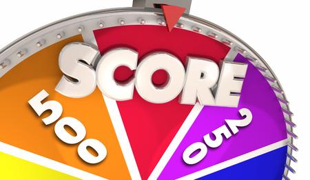 スコアゲームショースピニングホイール獲得量タリー3Dイラスト