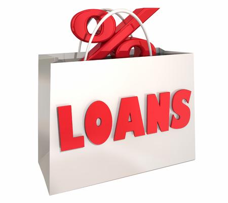 Loans Shopping Bag Best Interest Rate Comparison 3d Illustration