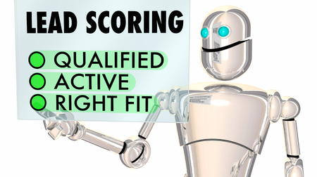 Lead Scoring Robot Qualified Active Right Fit 3d Illustration Stockfoto - 95638532