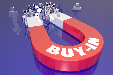 Buy In Magnet People Accept Approve Idea Convinced 3d Illustration Stock Photo