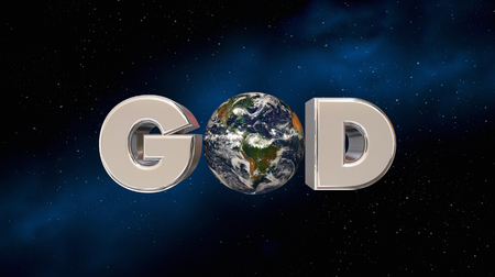 God Religion Belief Earth Planet Word Space 3d Illustration - Elements of this image furnished by NASA