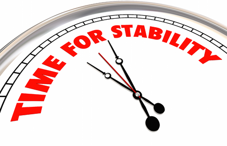 Time for Stability Clock Stable Strength Security 3d Illustration