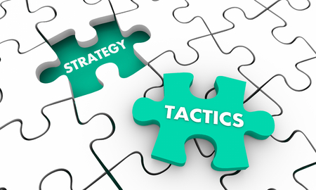 Strategy Tactics Accomplish Goal Puzzle Pieces 3d Illustration Stock fotó