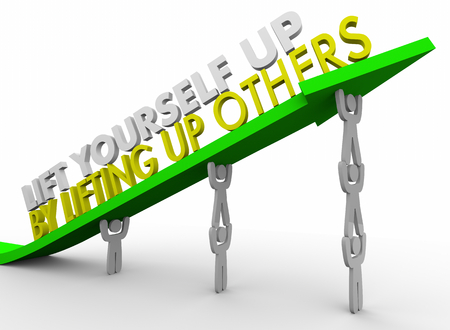 Lift Yourself Up By Lifting Others Team Arrow People 3d Illustration 写真素材 - 96007145