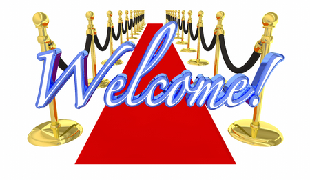 Welcome Red Carpet VIP Special Event Arrival 3d Illustration Stockfoto