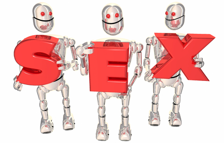 Sex Robots Red Letters Word New Technology 3d Illustration Reklamní fotografie - 96077837