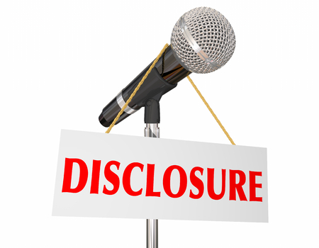Disclosure Microphone Sign Disclosing Information 3d Illustration