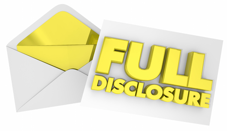 Full Disclosure Envelope Note Message 3d Illustration