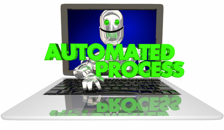 Automated Process Robot Laptop Computer AI 3d Illustration