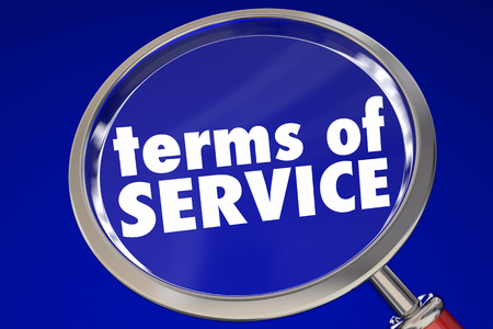 Terms of Service Magnifying Glass Fine Print 3d Illustration Imagens