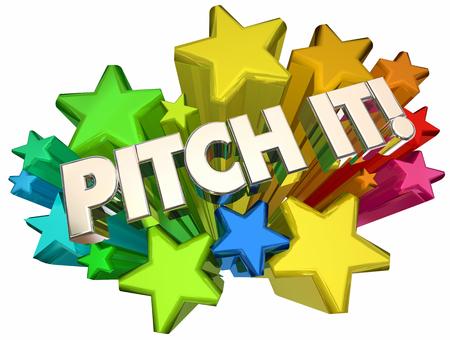 Pitch It Stars Present Idea Proposal 3d Illustration Reklamní fotografie