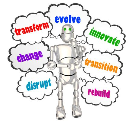 Transform Evolve Change Disrupt Robot Thought Clouds 3d Illustration Banco de Imagens