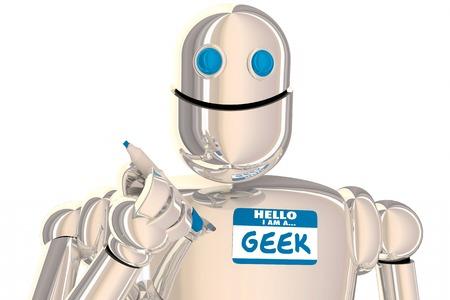 Geek Robot Nerd Scientist Inventor Smart Name Tag 3d Illustration Reklamní fotografie
