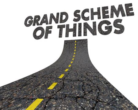 Grand Scheme of Things Road Destination Fate 3d Illustration Stock Photo