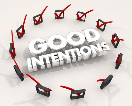 Good Intentions Check Marks Boxes Try Effort 3d Illustration