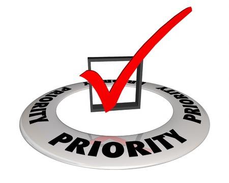 Prioridad de verificación superior de casilla de verificación ilustración 3d Foto de archivo - 96120633