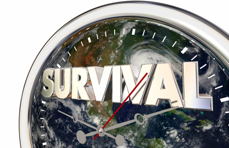 Survival Countdown Planet Earth World Clock 3d Illustration - Elements of this image furnished by NASA