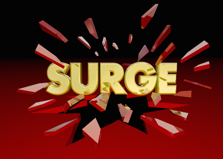 Surge Big Push Word Breaking Through Glass 3d Illustration Stock Photo