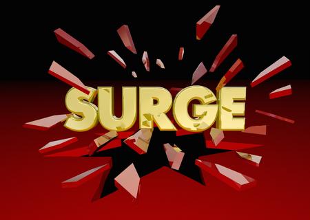 Surge Big Push Word Breaking Through Glass 3d Illustration 스톡 콘텐츠