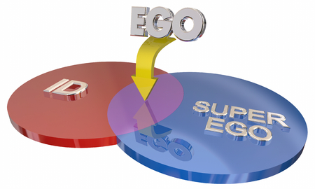 Id Ego Super-Ego Venn Diagram Psyche Psychology 3d Illustration