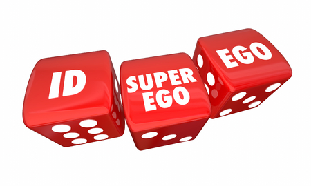 Id Ego Super-Ego Rolling Dice Psyche State Psychology 3d Illustration Stockfoto