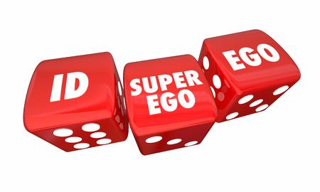 Id Ego Super-Ego Rolling Dice Psyche State Psychology 3d Illustration Фото со стока