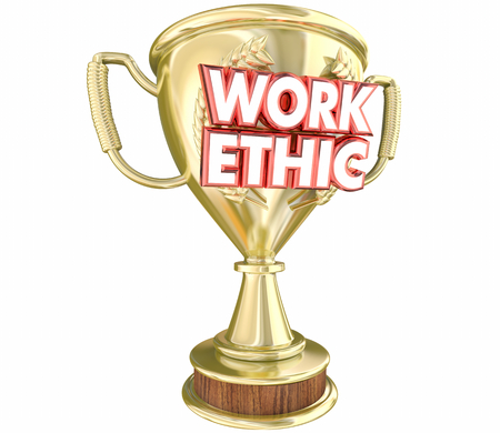 Work Ethic Best Employee Attitude Dedication Award Trophy 3d Illustration