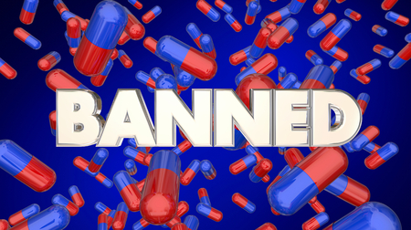 Banned Prescription Medication Pills Outlawed Drugs 3d Illustration Stock Photo