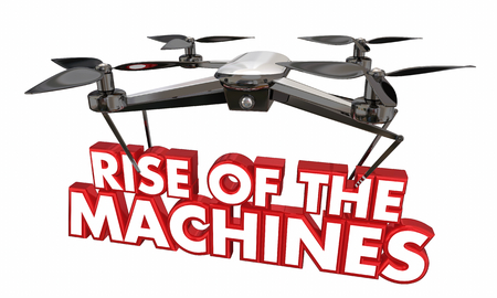 Rise of the Machines Drone AI Uprising 3d Illustration Stock fotó