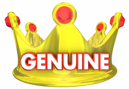 Genuine Crown Official Original Word 3d Illustration Stock Photo