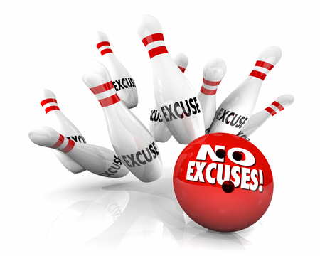 No Excuses Bowling Ball Pins Take Responsibility 3d Illustration Foto de archivo