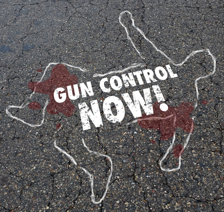 Gun Control Now Chalk Outline Victim Body Violence Illustration