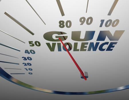 Gun Violence Level Rising Shootings Killings Gauge Rate 3d Illustration 版權商用圖片