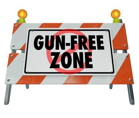 Gun-Free Zone Barricade Sign Violence Safety 3d Illustration